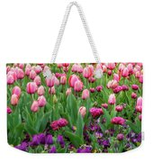 Pink And Purple Tulips At The Spring Floriade Festival Weekender Tote Bag
