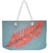 Pink And Teal Feather Weekender Tote Bag