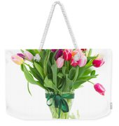 Pink And Violet Tulips Bouquet  Weekender Tote Bag