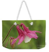 Pink And White Columbine Weekender Tote Bag