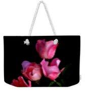 Pink And White Flowers On Black Weekender Tote Bag