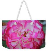Pink And White Rose Square Weekender Tote Bag