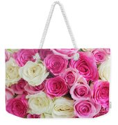 Pink And White Roses Bunch Weekender Tote Bag