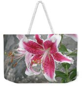 Pink And White Stargazer Lily In A Garden Weekender Tote Bag