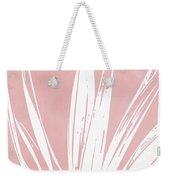 Pink And White Tropical Leaf- Art By Linda Woods Weekender Tote Bag by Linda Woods