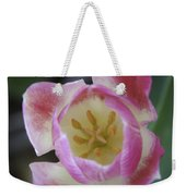 Pink And White Tulip Center Squared Weekender Tote Bag
