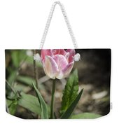Pink And White Tulip Squared Weekender Tote Bag