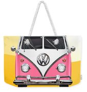Pink And White Volkswagen T 1 Samba Bus On Yellow Weekender Tote Bag by Serge Averbukh