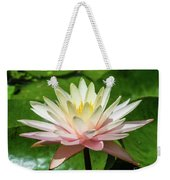 Pink And White Water Lily Weekender Tote Bag