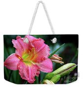 Pink And Yellow Lily After Rain Weekender Tote Bag