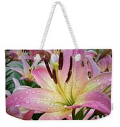 Pink And Yellow Mountain Lily Weekender Tote Bag