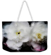 Pink And Yellow On White 3 Weekender Tote Bag