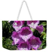 Pink Bell Flowers, Close-up. Foxglove 02 Weekender Tote Bag