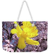 Pink Blossom Spring Trees Yellow Daffodil Flower Baslee Troutman Weekender Tote Bag