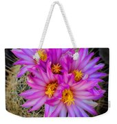 Pink Cactus Flowers Square  Weekender Tote Bag