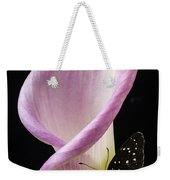 Pink Calla Lily With Butterfly Weekender Tote Bag