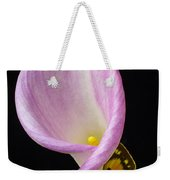 Pink Calla Lily With Yellow Butterfly Weekender Tote Bag