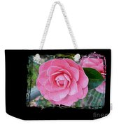 Pink Camellias With Fence And Framing Weekender Tote Bag