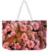 Pink Chrysanthemums With Pin Oak Leaf Weekender Tote Bag