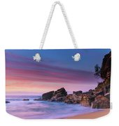 Pink Clouds And Rocky Headland Seascape Weekender Tote Bag