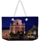 Pink Facade Of Franciscan Church Of The Annunciation Next To Urb Weekender Tote Bag