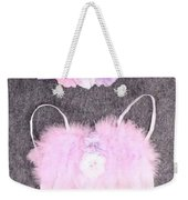 Pink Feather Angel Wings With White-violet Flowers And Headband Weekender Tote Bag