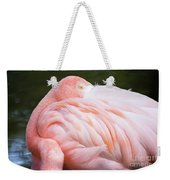 Pink Flamingo Hiding Its Head On Its Plumage. Weekender Tote Bag