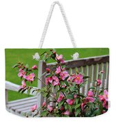 Pink Flowers By The Bench Weekender Tote Bag