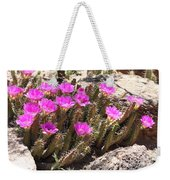 Pink Flowers In The Desert Weekender Tote Bag