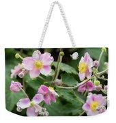 Pink Flowers Over Green Weekender Tote Bag