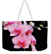 Pink Flowers Pink Vein Black Background Weekender Tote Bag