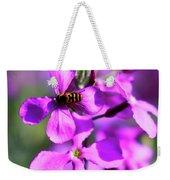 Pink Flowers With Bee . 40d4803 Weekender Tote Bag