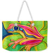 Pink Frog On Leafs Weekender Tote Bag