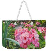 Pink Geraniums Weekender Tote Bag by Lea Novak