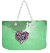 Pink Heart On Frosted Glass Weekender Tote Bag