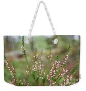 Pink Heather, Calluna Vulgaris, In Foggy Forest Weekender Tote Bag