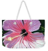 Pink Hibiscus With Raindrops Weekender Tote Bag