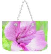 Pink Hollyhock Flower Weekender Tote Bag