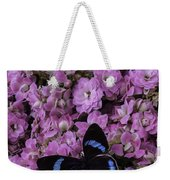 Pink Kalanchoe And Black Butterfly Weekender Tote Bag
