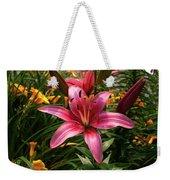 Pink Lily Lush Garden Weekender Tote Bag