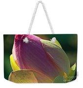 Pink Lotus Bud Weekender Tote Bag