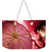 Pink Ornaments Holiday Card Weekender Tote Bag