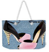 Pink Patent Leather With Sculpted Metal Heels Weekender Tote Bag