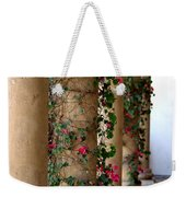 Pink Peacock Colored Bougainvillea Blossoms Climbing Pillars Photograph By Colleen Weekender Tote Bag