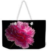 Pink Peony On A Black Background Weekender Tote Bag