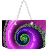 Pink Purple And Green Fractal Spiral Weekender Tote Bag