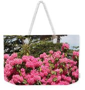 Pink Rhododendrons With Totem Pole Weekender Tote Bag