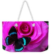 Pink Rose And Black Blue Butterfly Weekender Tote Bag