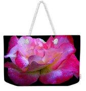 Pink Rose On Black 4 Weekender Tote Bag