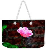 Pink Rose On Red Brick Wall Weekender Tote Bag